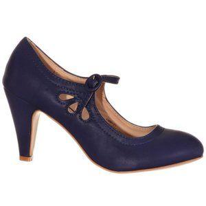 NEW Vintage Pinup Maryjane Heels Pumps Sailor Blue
